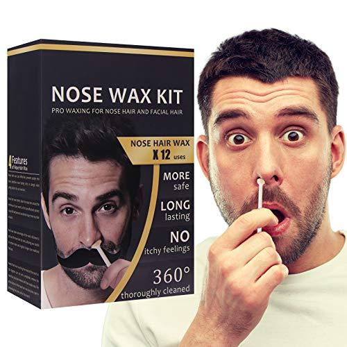 Naso Depilazione Kit, Kit di Ceretta per il Naso, Kit Cera Naso E orecchie, Kit di Cera per Naso per Uomo, Sicura, Veloce e Indolore, 100g (Black)