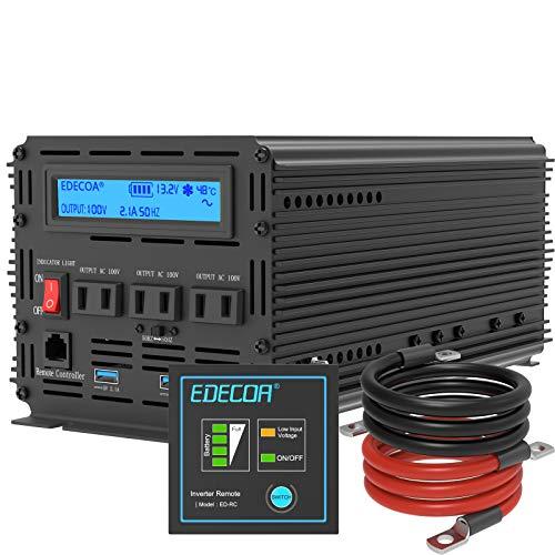 EDECOA インバーター 正弦波 2000W インバーター 12v 純正弦波インバーター DC 12Vを100V 110V ACへ変換 50Hz/60Hz LCDディスプレイ及びリモコン搭載 電源 3.0