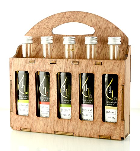 Organic herbs infused Greek extra virgin olive oil, 5 flavors - Basil, Lemon, Garlic, Red Pepper, Oregano in designer glass bottles, Finishing oil, perfect wooden gift set for holidays, 50 ml each