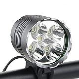 WASAGA Luci per Bici, Luce per Bicicletta da 6000 Lumens 5 LED, Luce Frontale per Mountain Bike Impermeabile con 8400mAh Pacco Batteria Ricaricabile, 3 modalità Luci per Bicicletta Faro Anteriore