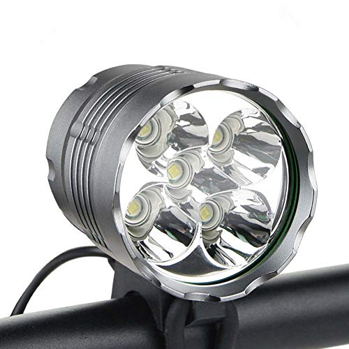WASAGA Bike Lights, 6000 Lumens 5 LED Bicycle Light,Waterproof Mountain Bike Front Light with Rechargeable Battery Pack,3 Modes Bicycle Lights Front Headlamp for Cycling Safety (Upgrade 8400mAh)