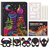LET'S GO! Scratch Art for Kids, 60 Sheets 10.2×7.6 Inch Rainbow Scratch Paper Arts and Crafts Sets for Ages 5-10 Boys and Girls Birthday Christmas Creative Gift
