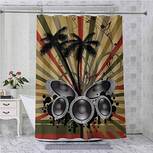 Cortina de ducha con ganchos, diseño de palmeras a rayas Ombre telón de fondo musical con impresión artística, 175,3 x 177,8 cm, impermeable, decorativa, color rojo, marrón, verde, negro y gris