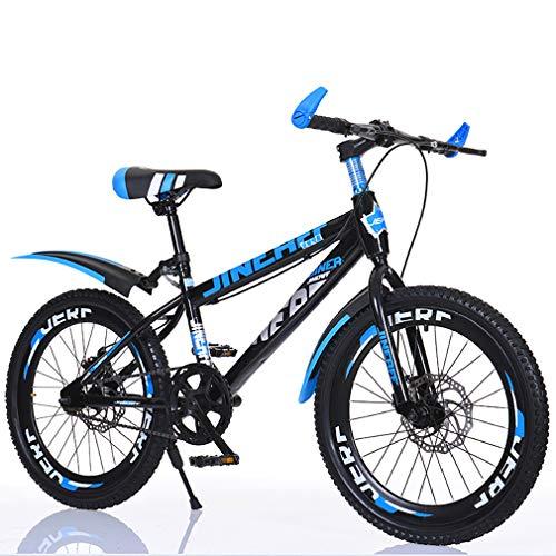 YAOXI Bicicleta De Montaña con Neumáticos Gruesos De Goma, Individual Velocidad Marco Hecho De Acero Al Carbono Sistema De Doble Disco De Freno Niño-Niña Bicicletas,Black/Blue,24Inch