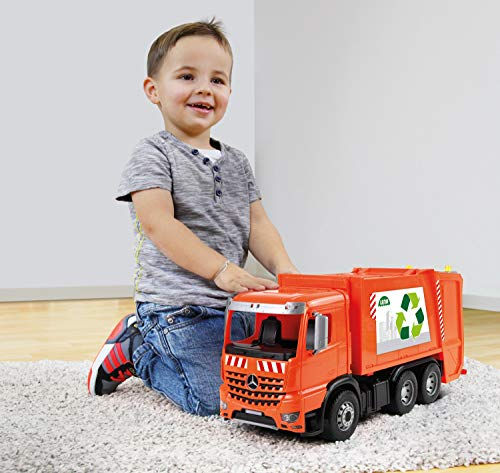 Lena ACTROS Toy Garbage Truck Trucks for 3 Year Old Boys and Girls Realistic Trash Waste Management Garbage bin Orange and Silver, 1:15 Scale Model …