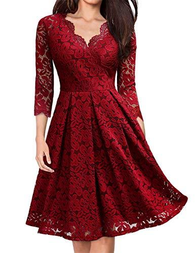 KOJOOIN Damen 1950er Vintage Brautjungfernkleider für Hochzeit Kurzes A-Linie Abendkleider, Weinrot (Lange Ärmel), Gr.- M/38-40