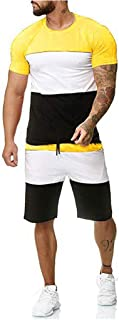 2021 Mens Sport Set Summer Outfit 2 Piece Set Short Sleeve T Shirts and Shorts Stylish Casual Sweatsuit Set
