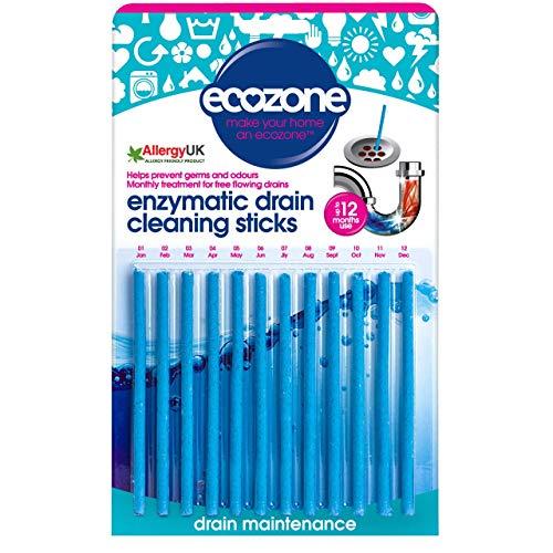 Ecozone EZ4 Enzym-Abfluss-Entstopfer-Sticks, Pack mit 12 Stäbchen schützt EIN ganzes Jahr