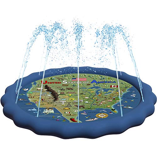 """SplashEZ 3-in-1 Splash Pad, Sprinkler for Kids and Toddler Pool for Learning – Children's Sprinkler Pool, 60'' Inflatable Water Toys – """"USA MAP"""" Outdoor Kiddie Pool for Babies & Toddlers"""