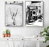 2pcs-set 40 * 50cm * 2 sin marco / Póster de chica de moda Impresión de lienzo en blanco y negro Cámara vieja Pintura de arte de pared Imagen de arte minimalista Decoración del hogar moderno
