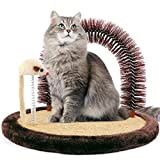 Happi N Pets Premium Cat Arch Self Groomer Cat Massager, Cat Hair Brush For Grooming With Sturdy Cat Scratching Pad And Catnip Toy, Cat Face Scratchers, Durable Brusher, Cat Rubbing Post & Scratcher