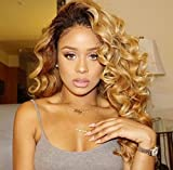 Brazilian Virgin Hair Lace Front Wigs Body Wave Glueless Human Hair Wigs for Black Women Ombre 1B/27 (14 Inch, Lace Front Wig)