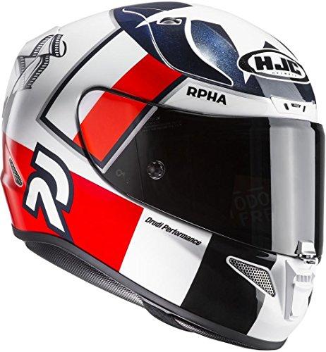 HJC Motorradhelm RPHA 11 Ben Spies MC1, Weiß/Rot, Größe XL