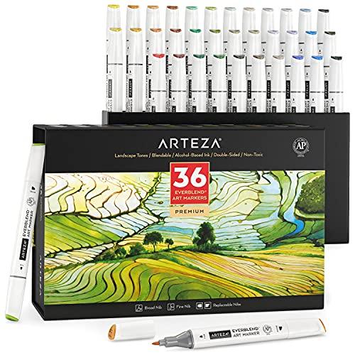 Arteza Alcohol Art Markers, Set of 36 Colors, Landscape Tones, Medium Chisel & Fine Tip, Art Supplies for Drawing & Sketching