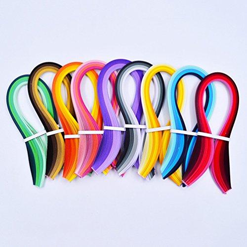 900 Papier-Streifen, Quilling-Streifen-Sets (Breite 3 mm/5 mm/7 mm/10 mm, Länge 39 cm), Schwarz/Blau/Braun/Grün/Orange/Violett/Rot/Gelb, 10 mm