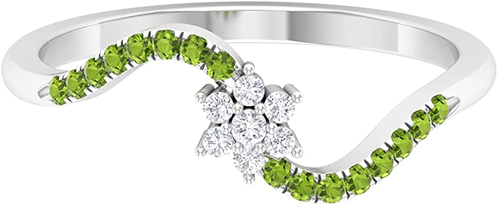 1/4 CT Floral Diamond and Peridot Promise Ring (HI-SI Quality),14K White Gold,Diamond,Size:US 3.00