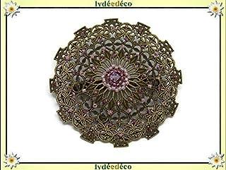 Vintage retro spilla cuore tessitura di perle giapponesi lilla viola 5,5 cm regalo personalizzato Natale amico compleanno ...