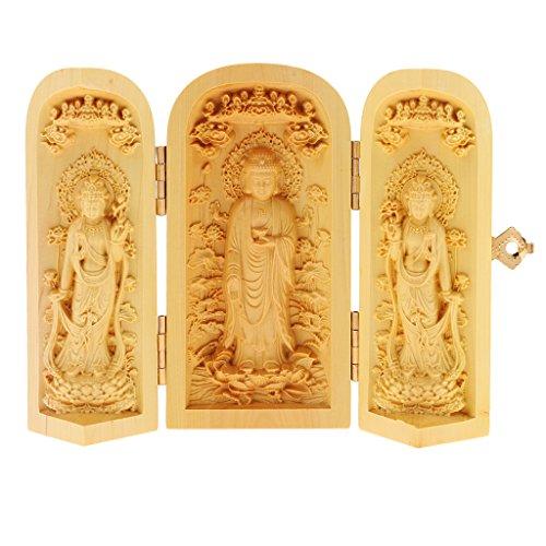 LoveinDIY Avalokitesvara 3 God Buddha Statue Box Lotus Flower Western Holy Home Decor