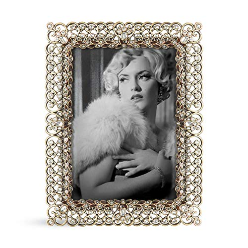 SARO LIFESTYLE Jeweled Photo Frame, 3.5' x 5', Gold