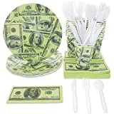 Blue Panda $100 Dollar Money Party Supplies (Serves 24) Plates, Cups, Napkins, Knives, Spoons, Forks