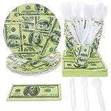 Juvale Einweg-Party-Geschirr - $ 100 Dollar-Schein Geschirr Set Party Supplies - Pappteller, Becher,...