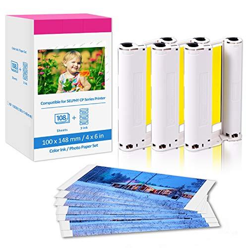 Papel fotográfico KP-108IN 3115B001 (AA) Compatible con Canon Selphy CP1300 CP1200 CP1000 CP910 CP810 C800 CP740 impresoras , 108 hojas de papel fotográfico (100 x 148 mm) + 3 cartuchos de color