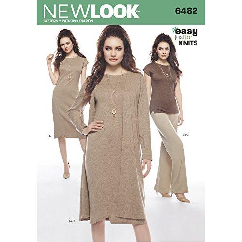 New look patroon 6482 Misses' gebreide jurk, tuniek, broek en stof, papier, wit, 22 x 15 x 1 cm