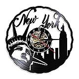 LED colorato Orologio da parete in vinile cat Orologio da parete vintage di New York City Statua della libertà nazionale degli Stati Uniti Orologio da record retrò in vinile con retroillumin