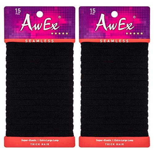AwEx Extra Large,7 inches (180 mm),Seamless Hair Bands,30 PCS, No Break,Long Hair Ties,XL Hair Elastics,X-Large Ponytail Holder