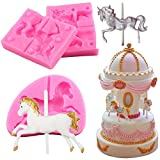 3 Pieces Carousel Horse Silicone Fondant Molds, 3D...