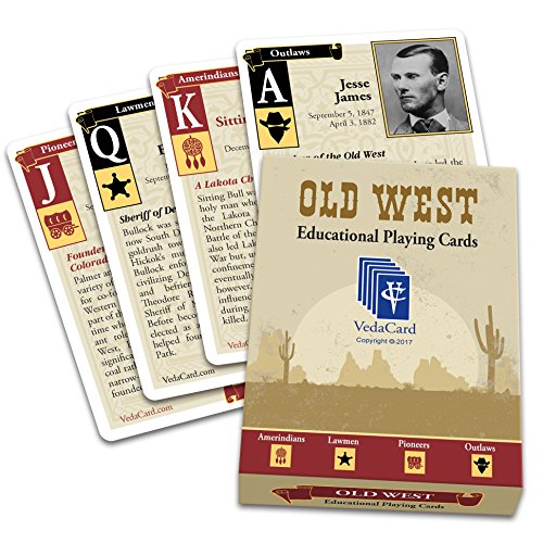 Old West - Fun Card Games - Educational Deck of Playing Cards - Vintage and Interesting Old West Cards - Fun History Game - VedaCard