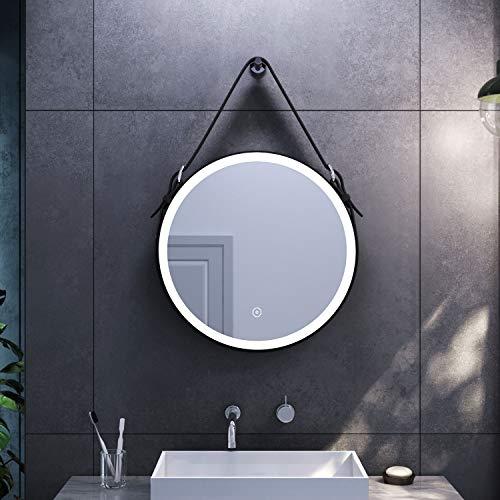 SONNI Espejo Redondo de Baño 60x60cm,Espejo Pared Antinieble LED con Interruptor Táctil,Espejo de Baño con Diseño Moderno con Cinturón de Cuero Ajustable
