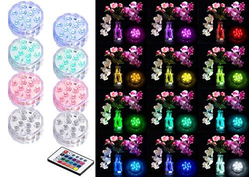 Lunartec Poolbeleuchtung: 8er-Set RGB-LED-Unterwasserleuchten mit Fernbedienung, Timer, IP68 (Pool Licht)