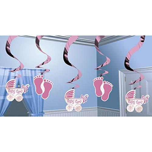 Amakando 5er Deko Spiralen Pullerparty Baby Girl 61 cm Hängedeko Babyparty Mädchen Partydeko Spirale Taufe Dekoration Raumdekoration Mottoparty Baby Party Raumdeko