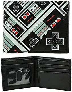Novelty Wallet Nintendo Controller All Over Print Bi-Fold Black One Size