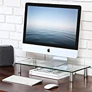 FITUEYES Monitor Stand Glass Transparent Height Adjustable PC Laptop Computer Screen Riser 56x24x9.5cm DT105601GC