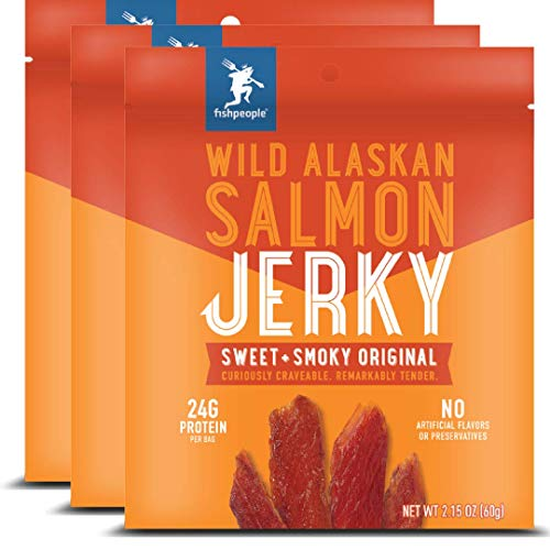 Fishpeople Wild Alaskan Salmon Jerky, Sweet + Smoky Original, 2.15 ounce (3 pack), 24g Protein and 900mg Omega-3s per bag, Low sugar, Gluten-free, Antibiotic-free, Non-GMO.