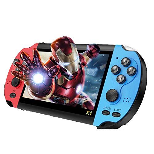 YONGX console portátil de jogo de 4 polegadas com 8 GB de memória embutida em 10.000 jogos, suporta fotos e jogos de e-book MP4, melhor presente para crianças (azul e vermelho)