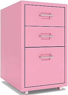 REWD Filing Cabinet, Mobile File Cabinet 3 Drawer Metal Filing Cabinets Pedestal with Rolling Casters Home Office Under Desk (Color : Pink)