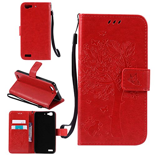 Tasche für Huawei GR3 Hülle, Ycloud PU Ledertasche Flip Cover Wallet Case Handyhülle mit Stand Function Credit Card Slots Bookstyle Purse Design Katze Baum Schmetterling Geprägt Rot