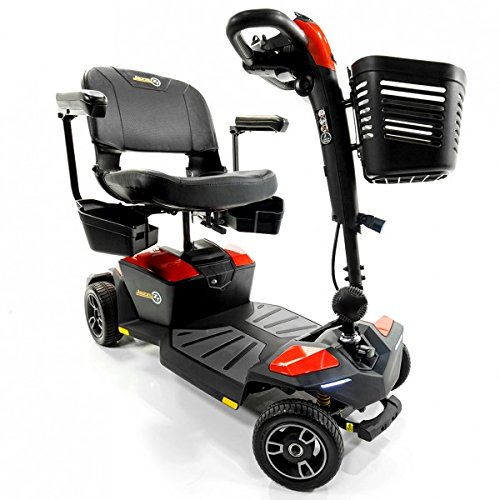 Pride Jazzy Zero Turn 4-Wheel Travel Mobility Scooters, Get The Best of Both Worlds - 4 Wheel Stability Meets 3 Wheel Maneuverability (Fire Opal)