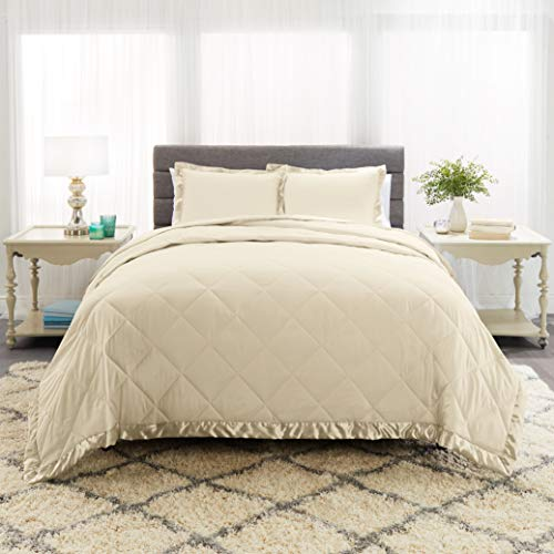 Empyrean Bedding 3-Piece Satin Trim Lightweight Quilted Microfiber Coverlet for All Season Full Comforter Set with 2 Pillow Shams, Cream Beige