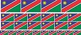 Mini Aufkleber Set - Pack glatt - 4x 51x31mm+ 12x 33x20mm + 10x 20x12mm- Sticker - Namibia - Self-Adhesive - Flagge - Banner - Standarte fürs Auto, Büro, zu Hause & die Schule - Set of 26