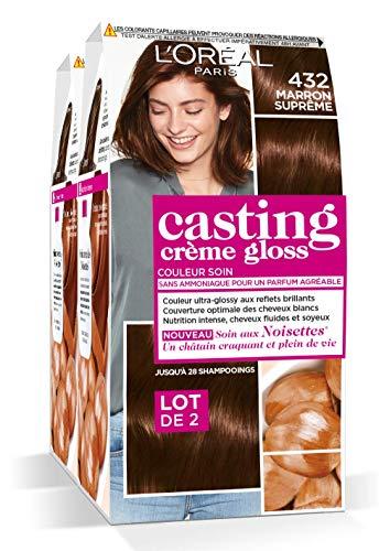 L'Oréal Paris Casting Crème Gloss Coloration Ton Sur Ton Sans Ammoniaque 4.32 Marron Suprême - Lot de 2