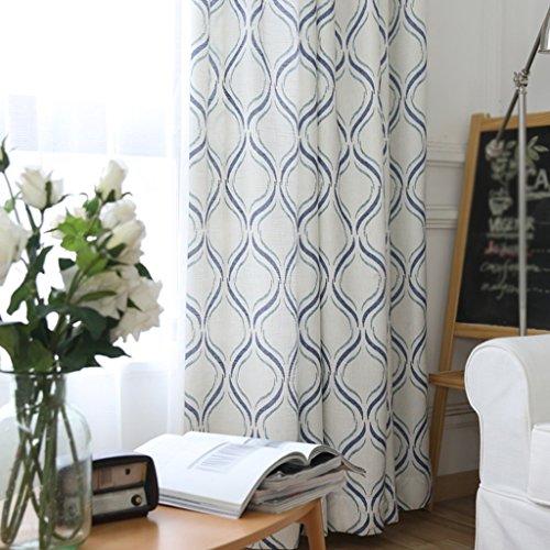 LINGZHIGAN Wavy Line Stripe semi-shadin rideaux de chambre rideaux de chambre à coucher Blackout Ready Made Eyelet rideaux occultants pour le salon avec deux tirettes assorties 2 panneaux