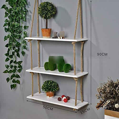 Combi-rek voor badkamerrek, touw om te perforeren zonder touw, plank van massief hout om aan de muur te versieren (kleur: wit, maat: 1 etage) 3 tier Wit