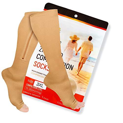Zipper Compression Socks 15-20mmHg with Zip Guard...