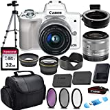 Canon EOS M50 Mirrorless Digital Camera (White) & 15-45mm STM Lens w/EOS M Mount Adapter + 32GB Transcend Memory Card, Shoulder Bag & Commander Optics Accessory Bundle