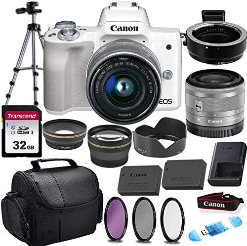 Canon EOS M50 Mirrorless Digital Camera (White) & 15-45mm STM Lens w/EOS M Mount Adapter + 32GB Transcend Memory Card, Shoulder Bag & Commander Optics Accessory Bundle