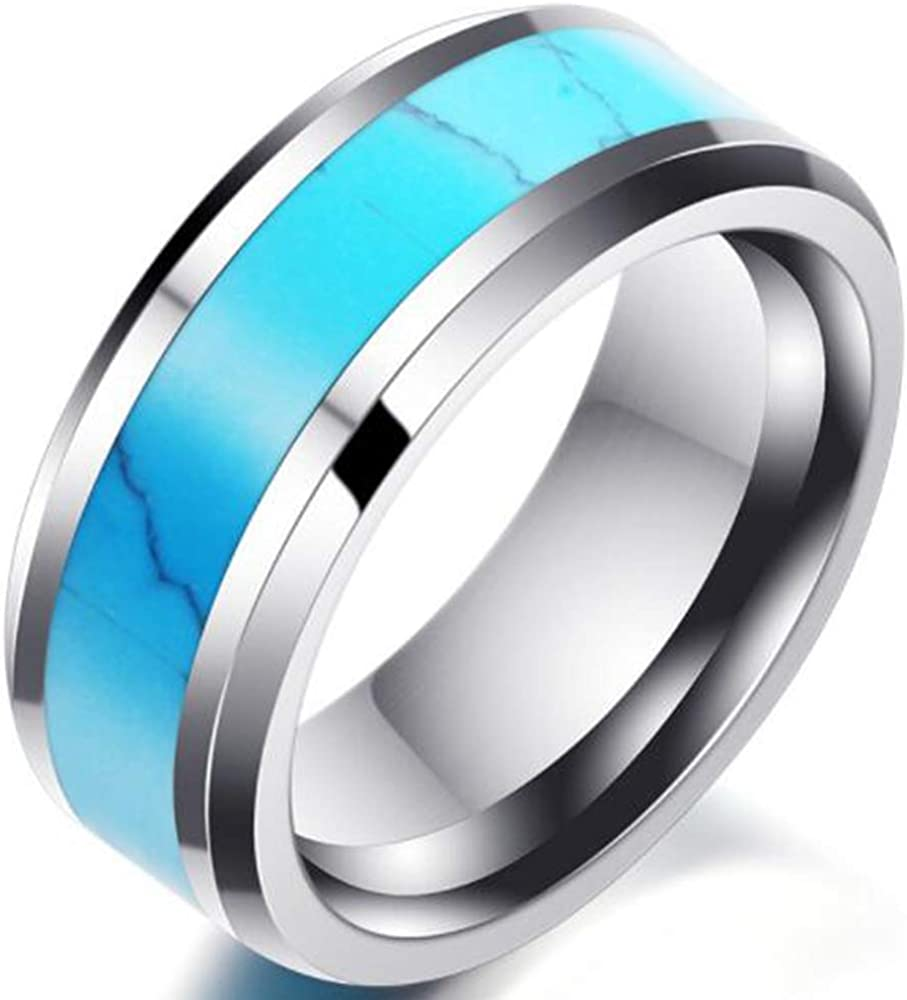Stainless Steel Created Blue Turquoise Band Style Wedding Ring